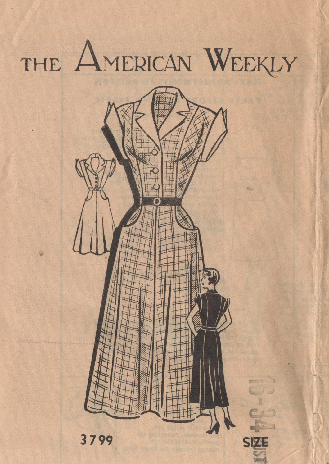 "1950's American Weekly One Piece Dress with Tall cuffs and self pockets - Bust 34"" - No. 3799"