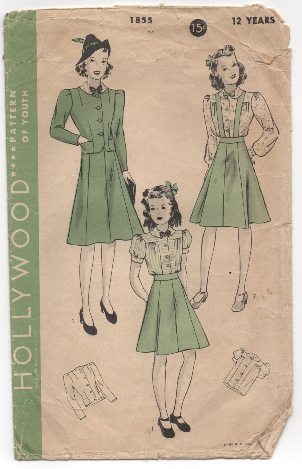 1940's Hollywood Blouse, Skirt with or without suspenders, Jacket - Bust 30