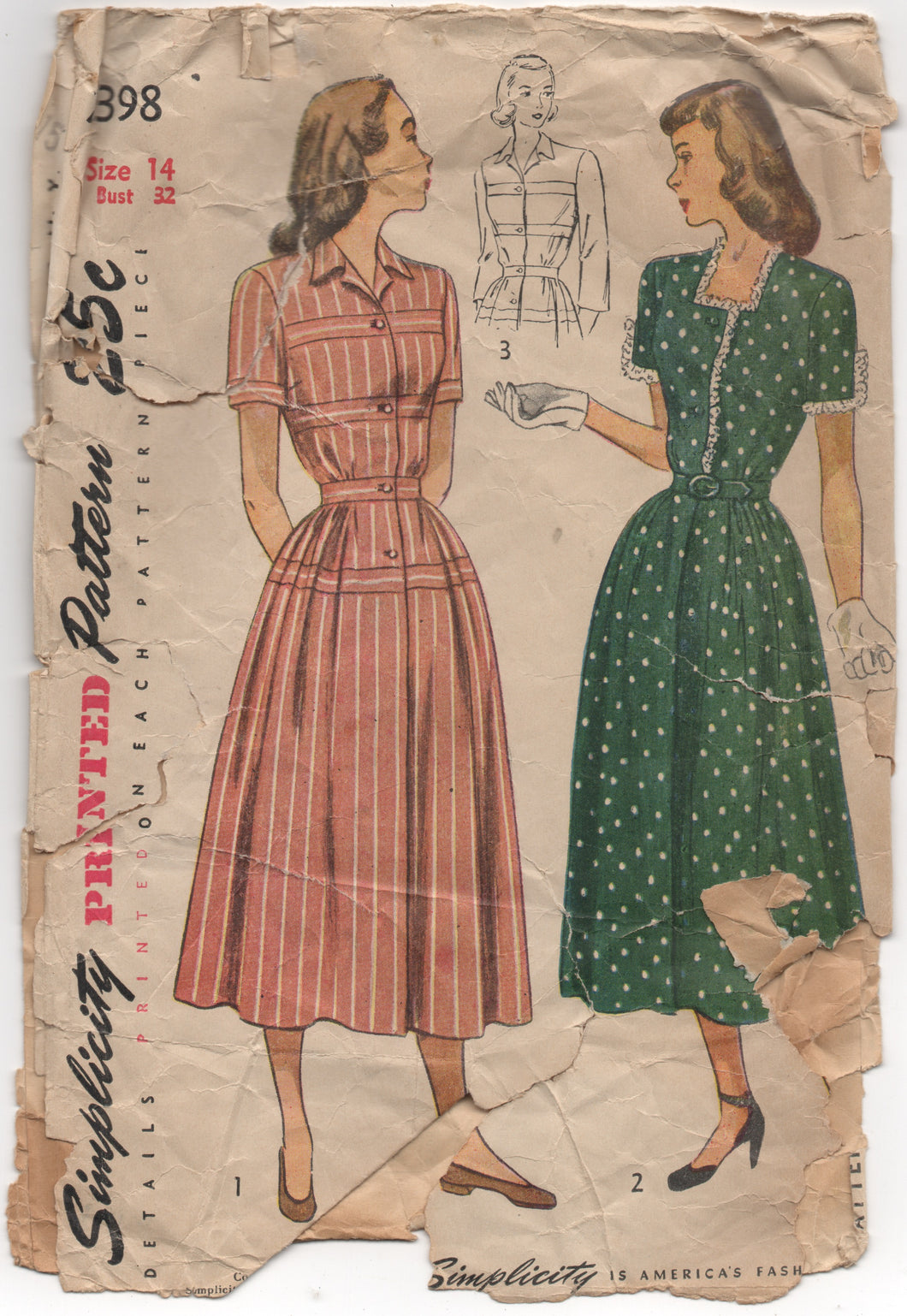1950's Simplicity One Piece Dress with or without applied bands - Bust 32