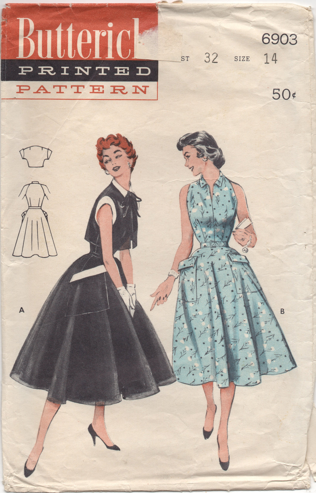1950's Butterick Sleeveless One Piece Dress with Full Skirt & Bolero - Bust 32