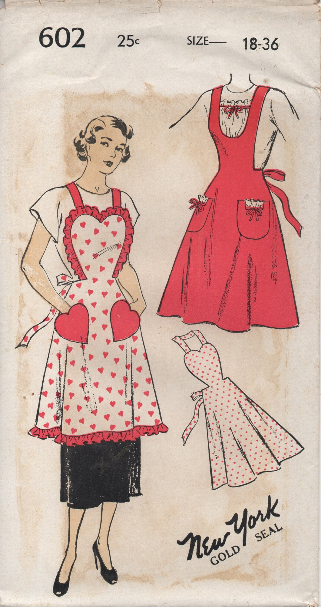 1950's New York Full Apron with Heart top and Pockets - Bust 36