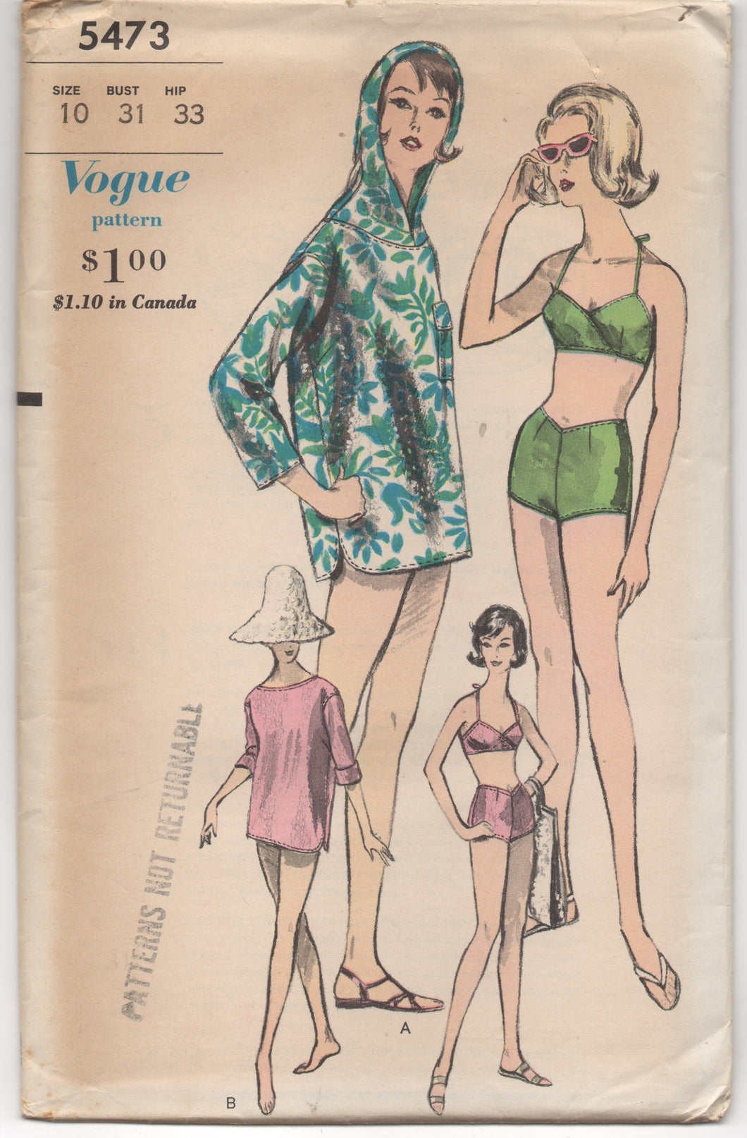 1960's Vogue Two Piece Bathing Suit, and Hooded Cover Up - Bust 31