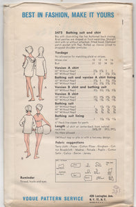 "1960's Vogue Two Piece Bathing Suit, and Hooded Cover Up - Bust 31"" - UC/FF - No. 5473"