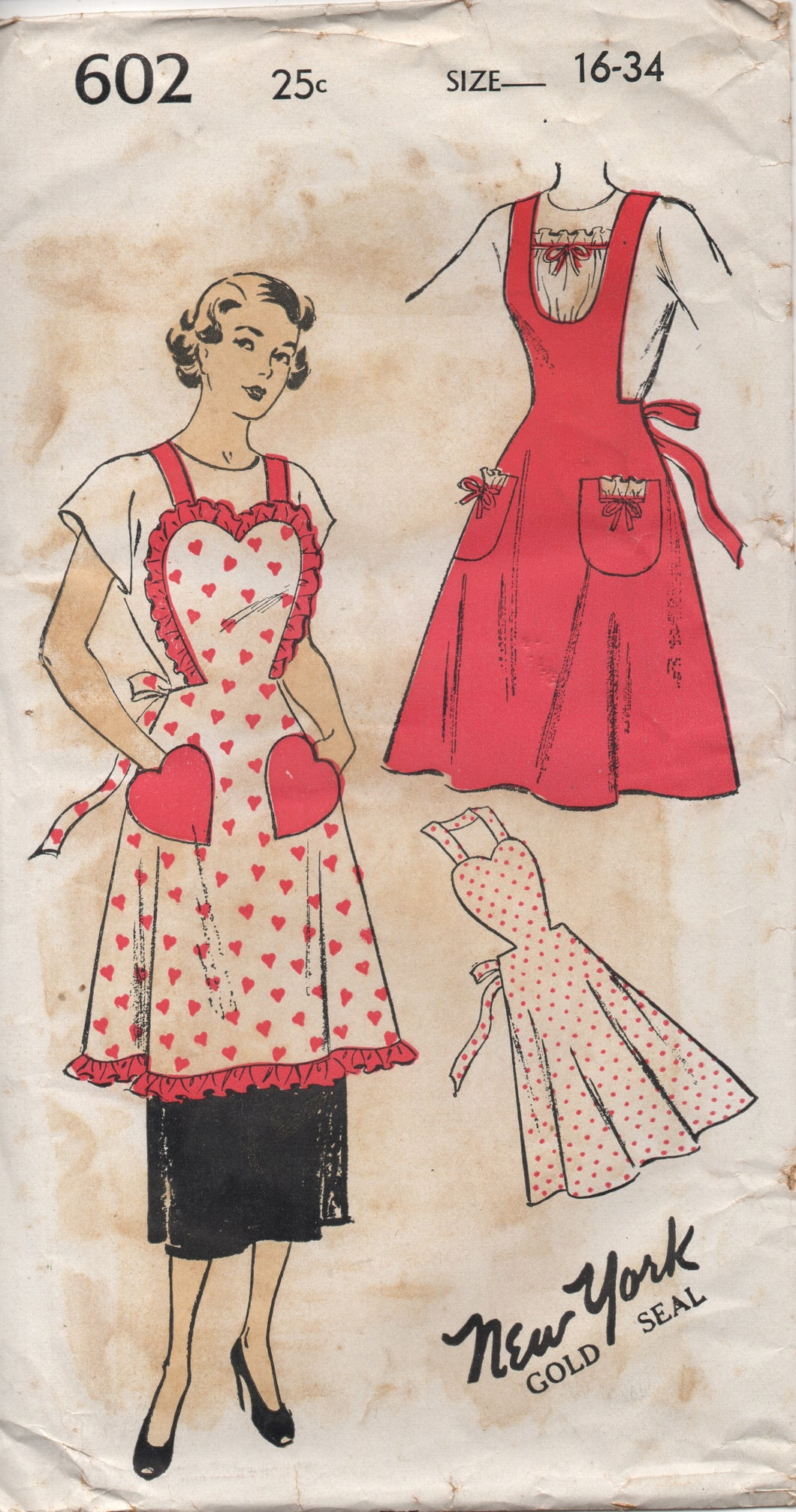 1950's New York Full Apron with Heart top and Pockets - Bust 34