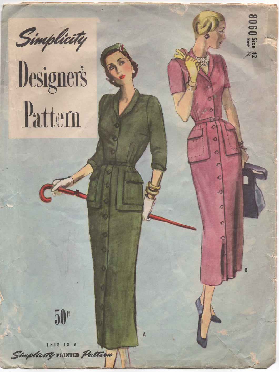 1950's Simplicity Designer One Piece Coat Dress with Peplum and Patch Pockets - Bust 42