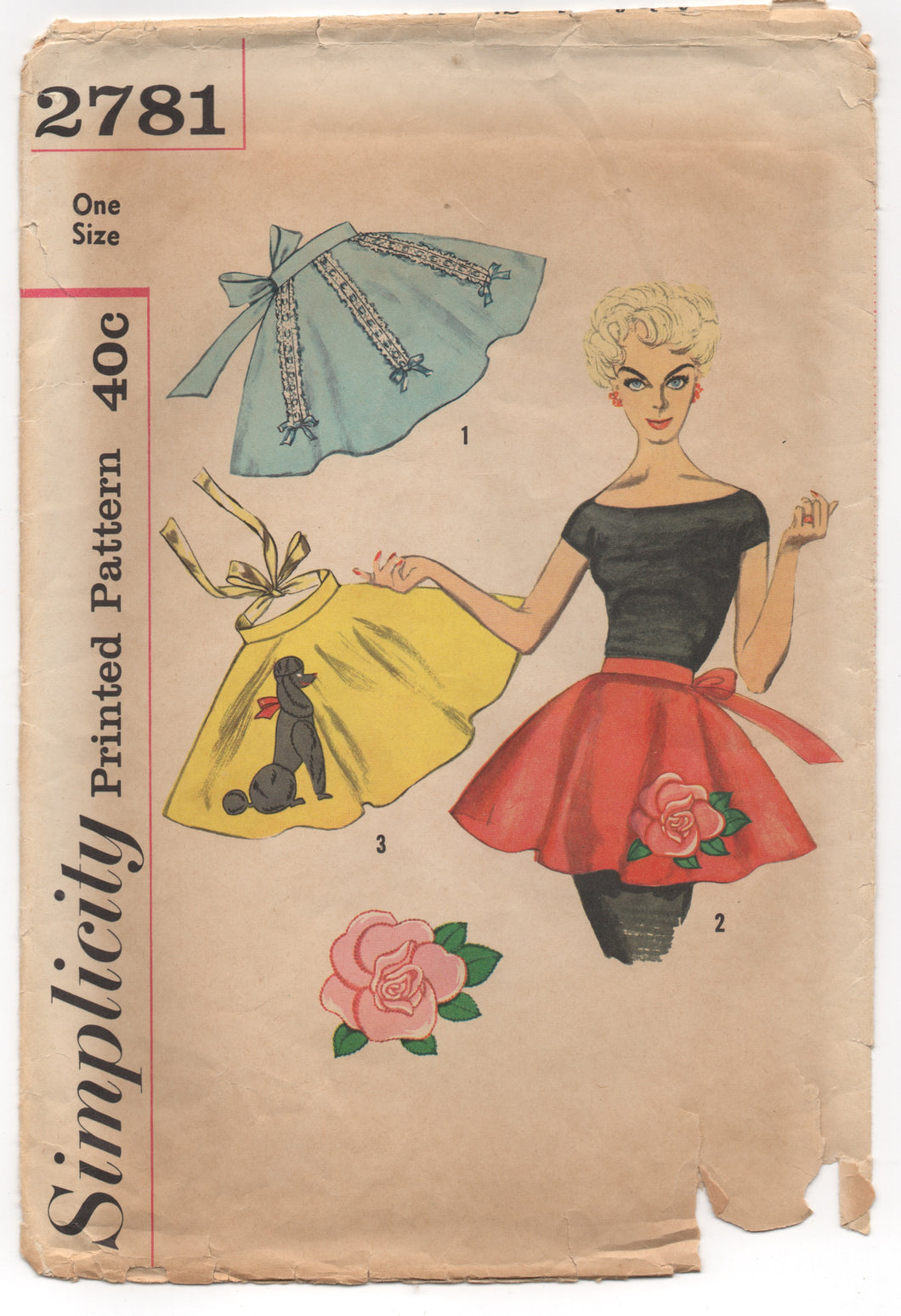 1950's Simplicity Half Apron with Poodle or Large Rose transfer UNUSED - One Size - No. 2781