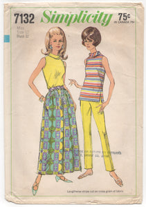 "1960's Simplicity Blouse, Cigarette Pants and Maxi Skirt - Bust 32"" - No. 7132"