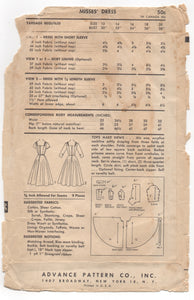 "1950's Advance American Designer One Piece Dress with cross over front - Bust 34"" - No. 7966"