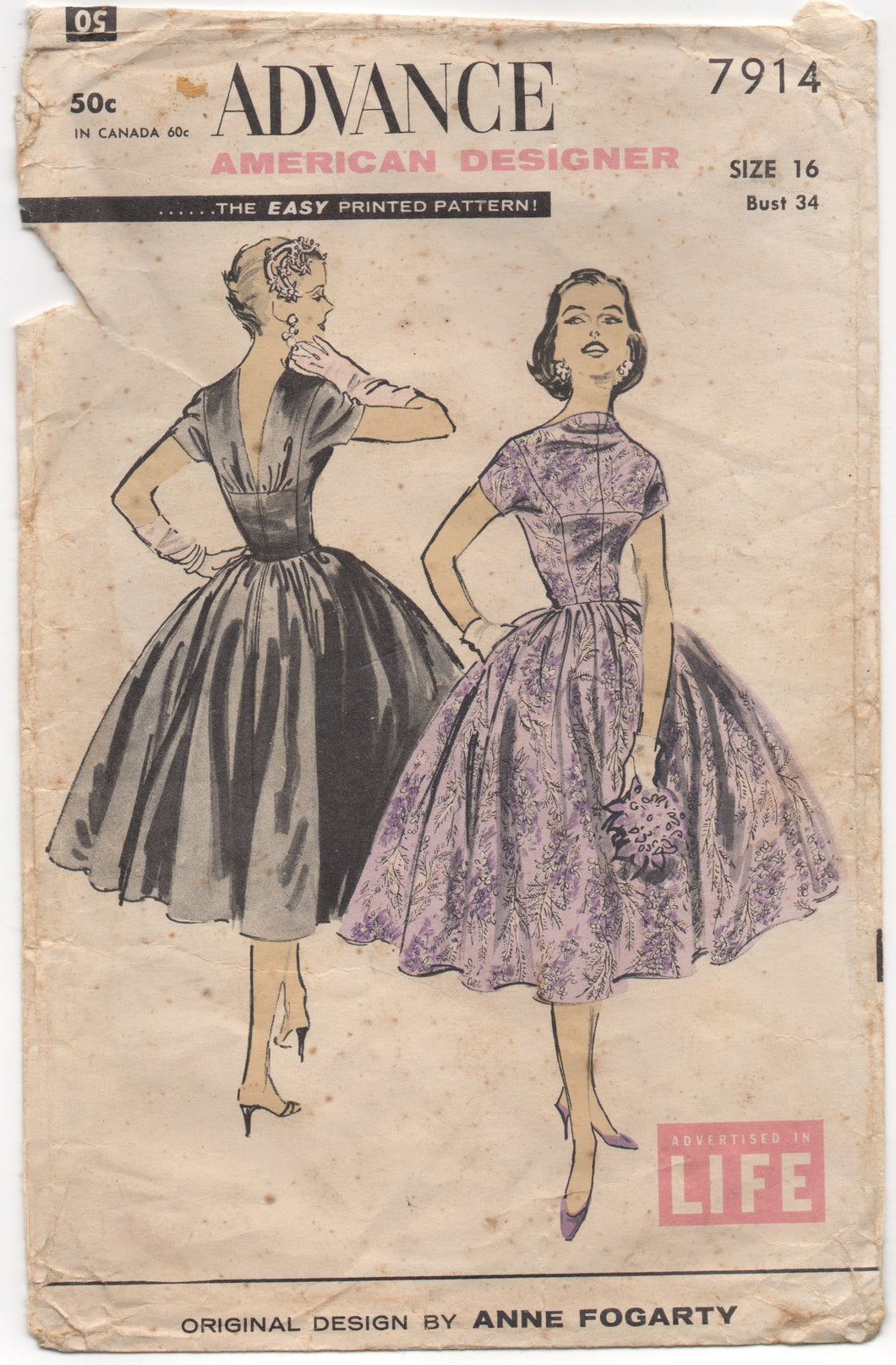 1950's Advance American Designer Evening Dress Pattern with full skirt - Bust 34