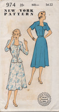 "1950's New York One Piece Dress with Sweetheart Neckline and gathers and Peplum - Bust 32"" - No. 974"
