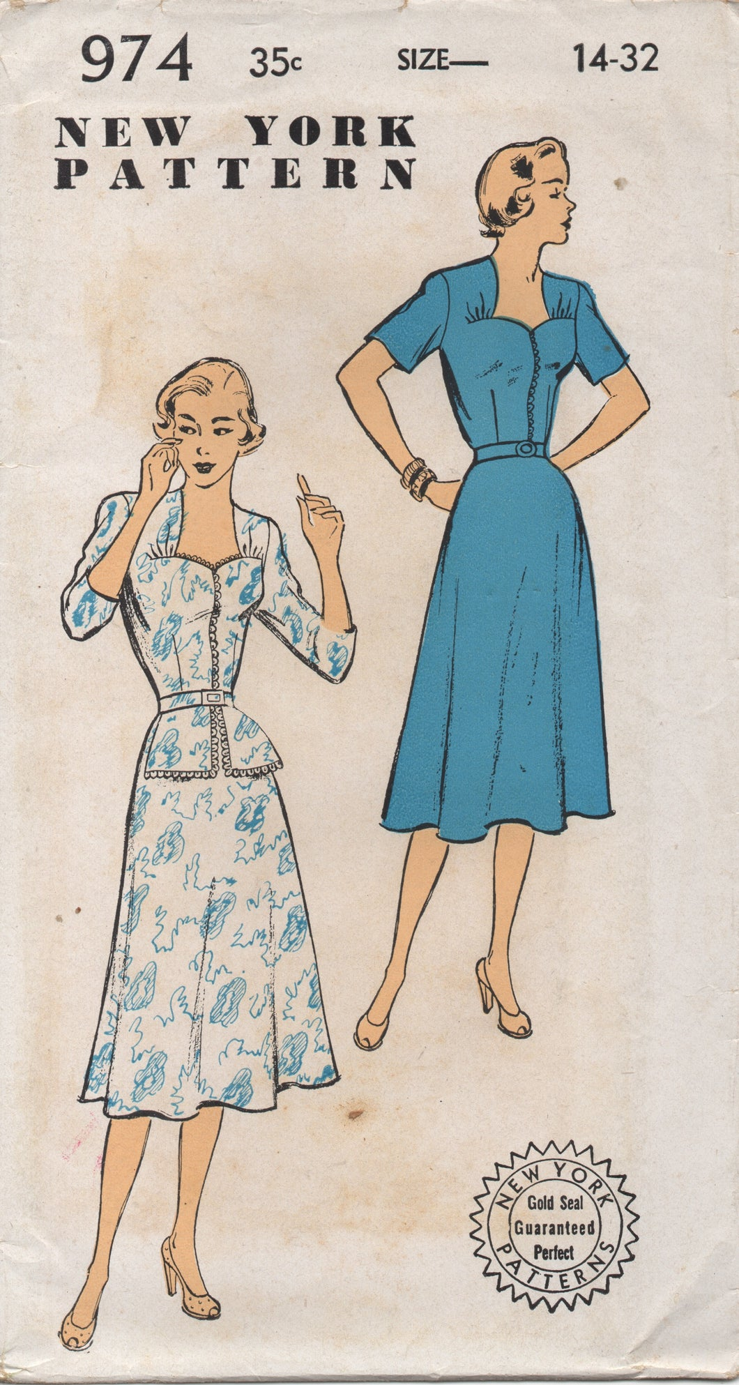 1950's New York One Piece Dress with Sweetheart Neckline and gathers and Peplum - Bust 32