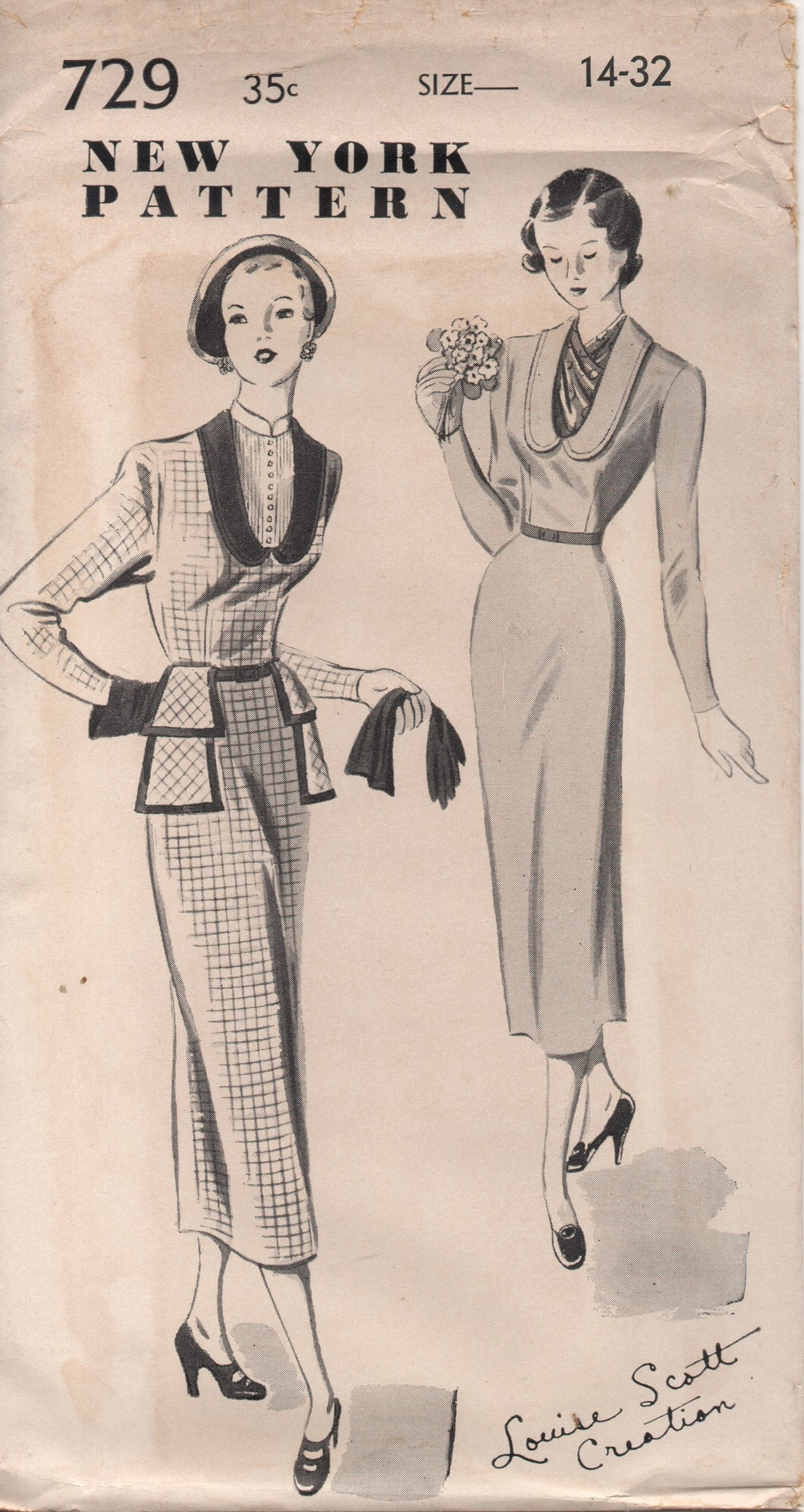 1950's New York by Louise Scott One Piece Dress with Deep Scoop Neckline and Collar and Double Peplum - Bust 32