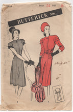 "1940's Butterick One Piece Dress with tiered sleeves - Bust 34"" - No. 3714"