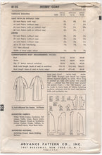 "1950's Advance Long Coat using Bishop Method - Bust 31-32"" - No. 8120"