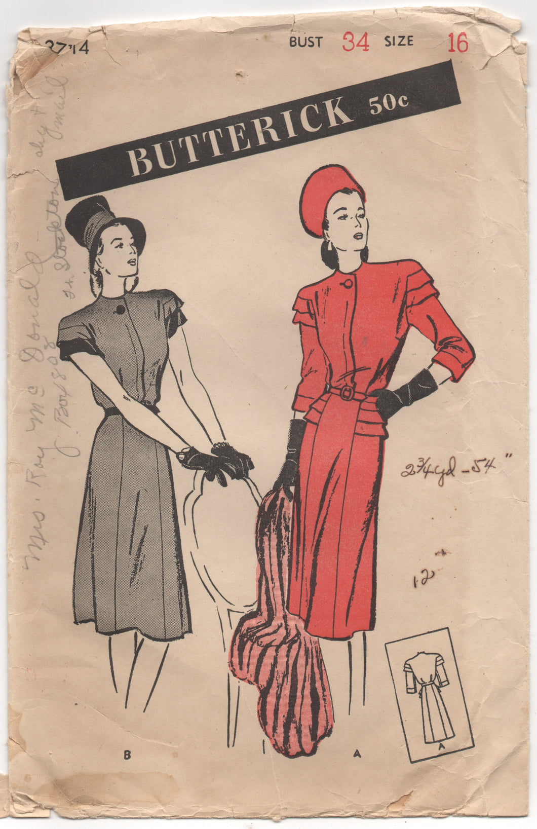 1940's Butterick One Piece Dress with tiered sleeves - Bust 34