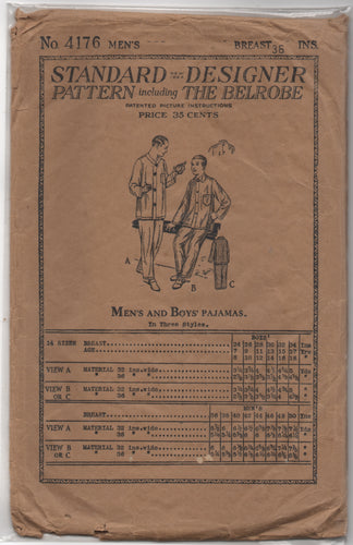 1910's Standard Designer Men's Pajama Pattern - Breast 36 - no. 4176