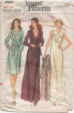 "1970's Vogue Wrap-Around Robe and Long Nightgown- Bust 34"" - No. 9027"