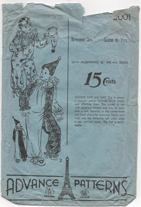 "1930's Advance Child's Clown and Hat pattern - Breast 24"" - No. 2001"