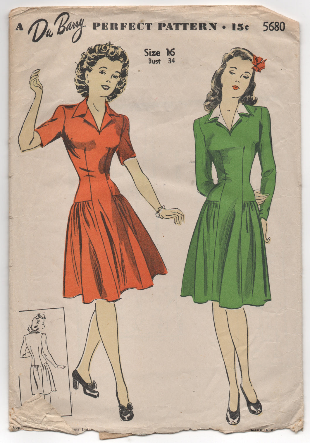"1940's DuBarry One Piece Dress with Dropped Hip Gathers - Bust 34"" - No. 5680"