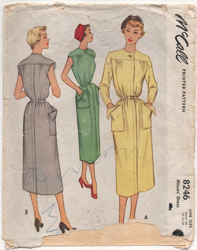 1950's McCall One-Piece Dress Pattern with Large Patch Pockets - Bust 30