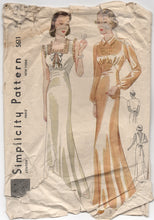 "1930's Simplicity Nightgown with Short Sleeve or Sleeveless and Low cut back - Bust 34"" - No. S611"