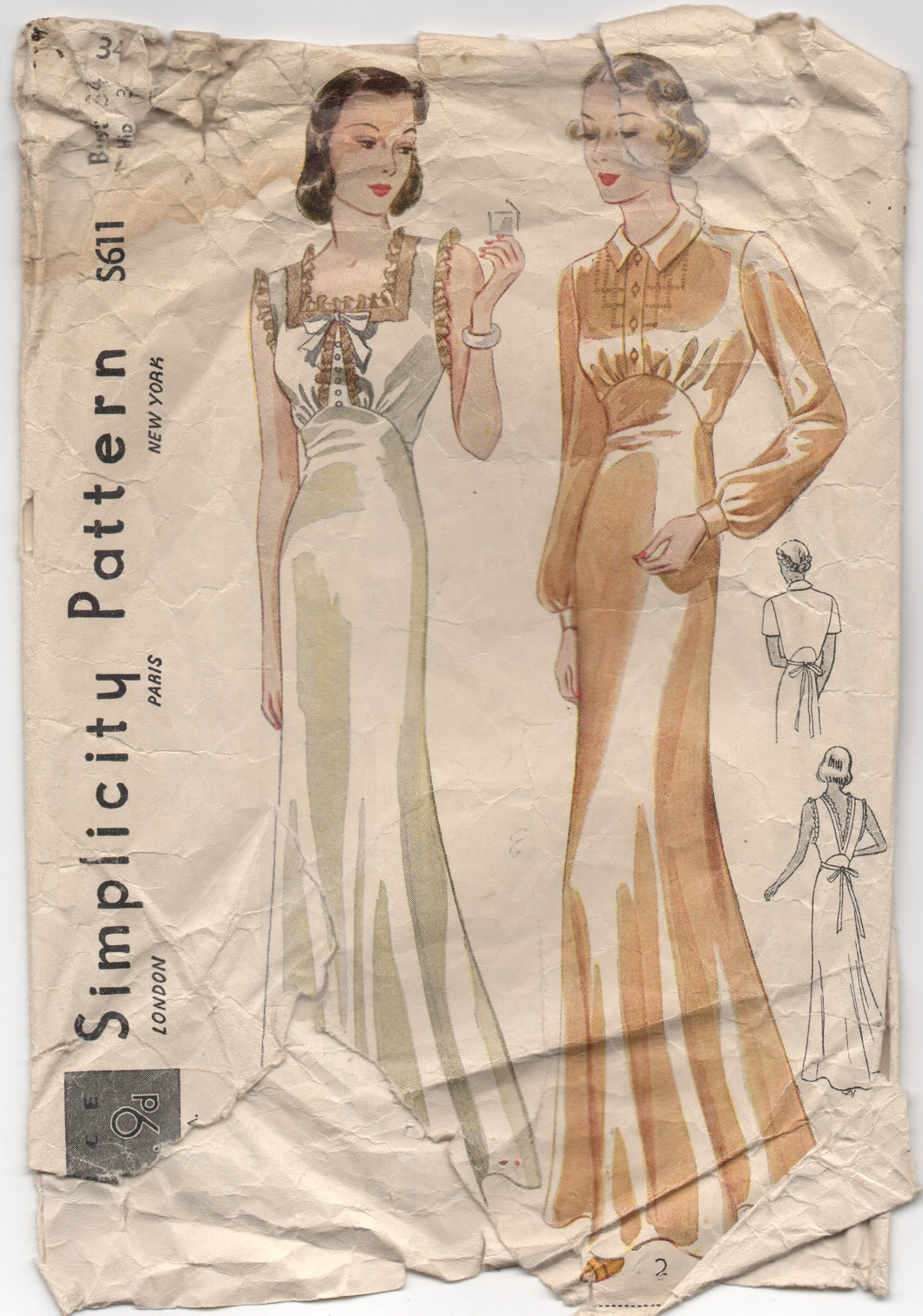 1930's Simplicity Nightgown with Short Sleeve or Sleeveless and Low cut back - Bust 34