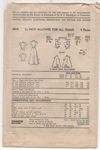 "1950's Advance ""Teen-Age"" Fashion One Piece Dress with Peter Pan Collar - Bust 29"" - No. 5410"