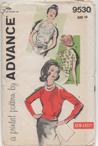 "1960's Advance High Neckline Blouse with Two Sleeve lengths and Waistband - Bust 34"" - No. 9530"