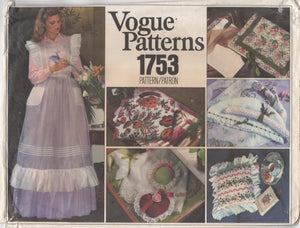 1970's Vogue Maxi Apron, Sachet, Bags, Pillows - One Size - No. 1753