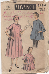 "1950's Advance Maternity Dress or Smock with Pockets - Bust 36"" - No. 6486"