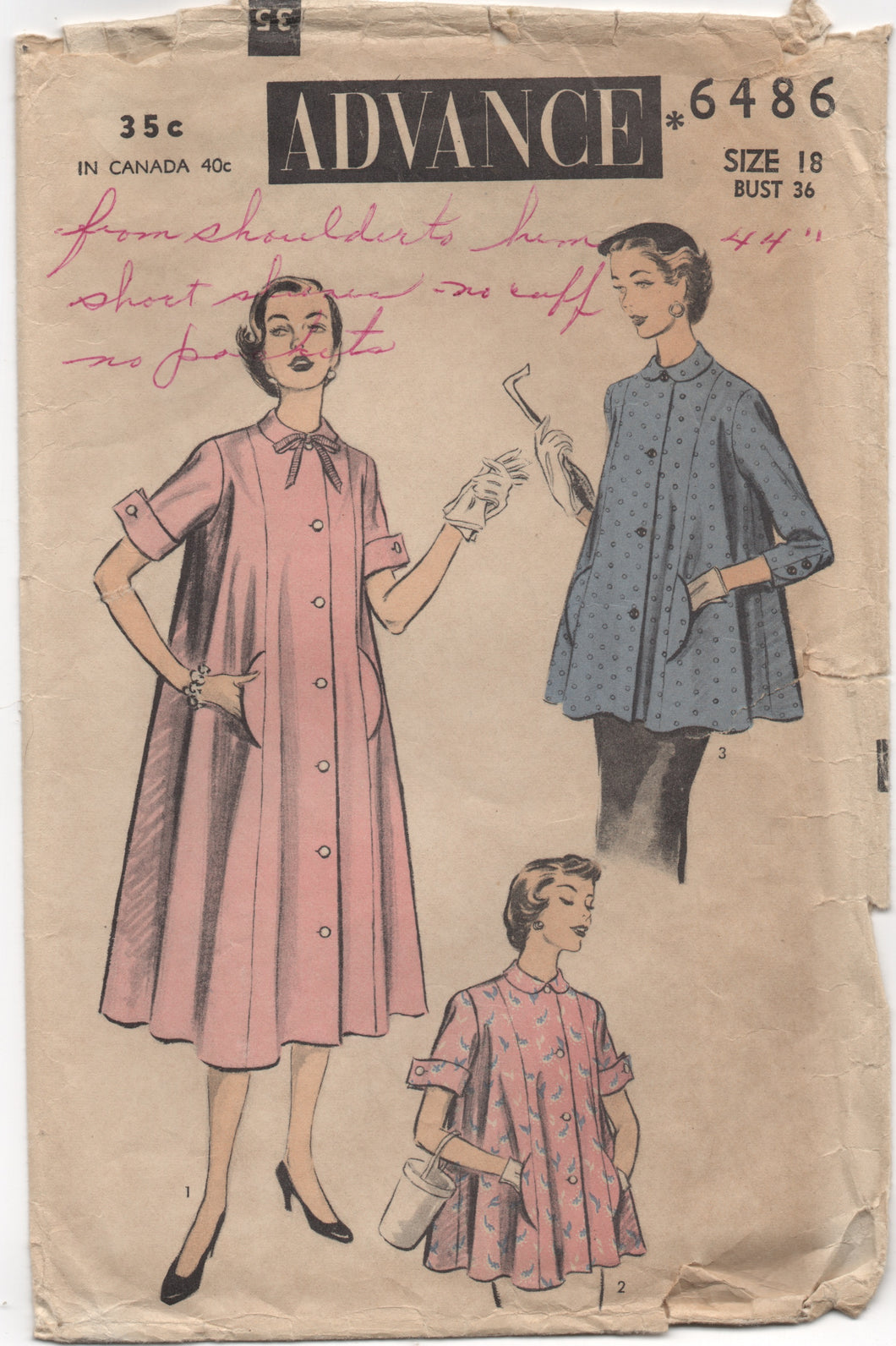 1950's Advance Maternity Dress or Smock with Pockets - Bust 36