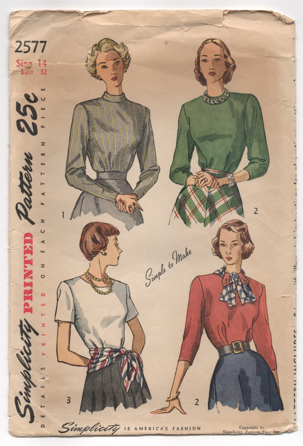 1940's Simplicity Blouse with Tab Accents, High Collar and Three Sleeve lengths - Bust 32