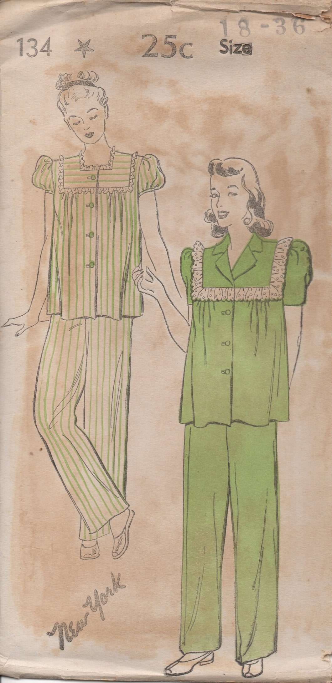1940's New York Two Piece Pajamas with Two Short Sleeve styles - Bust 36