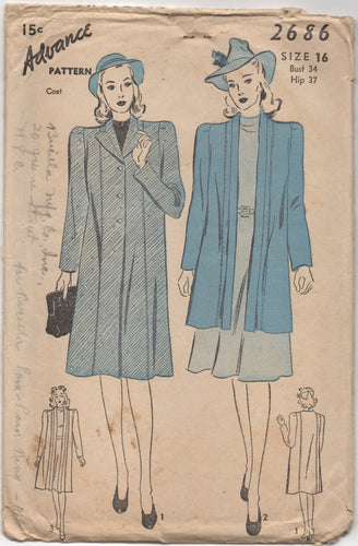 1940's Advance Straight Coat with or without Collar - Bust 34