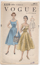 "1950's Vogue One Piece Dress with Slim Band and Princess lines - Bust 32"" - No. 8328"