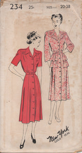 "1940's New York One Piece Dress with Double Peplum and Two Sleeves lengths - Bust 38"" - UC/FF - No. 234"