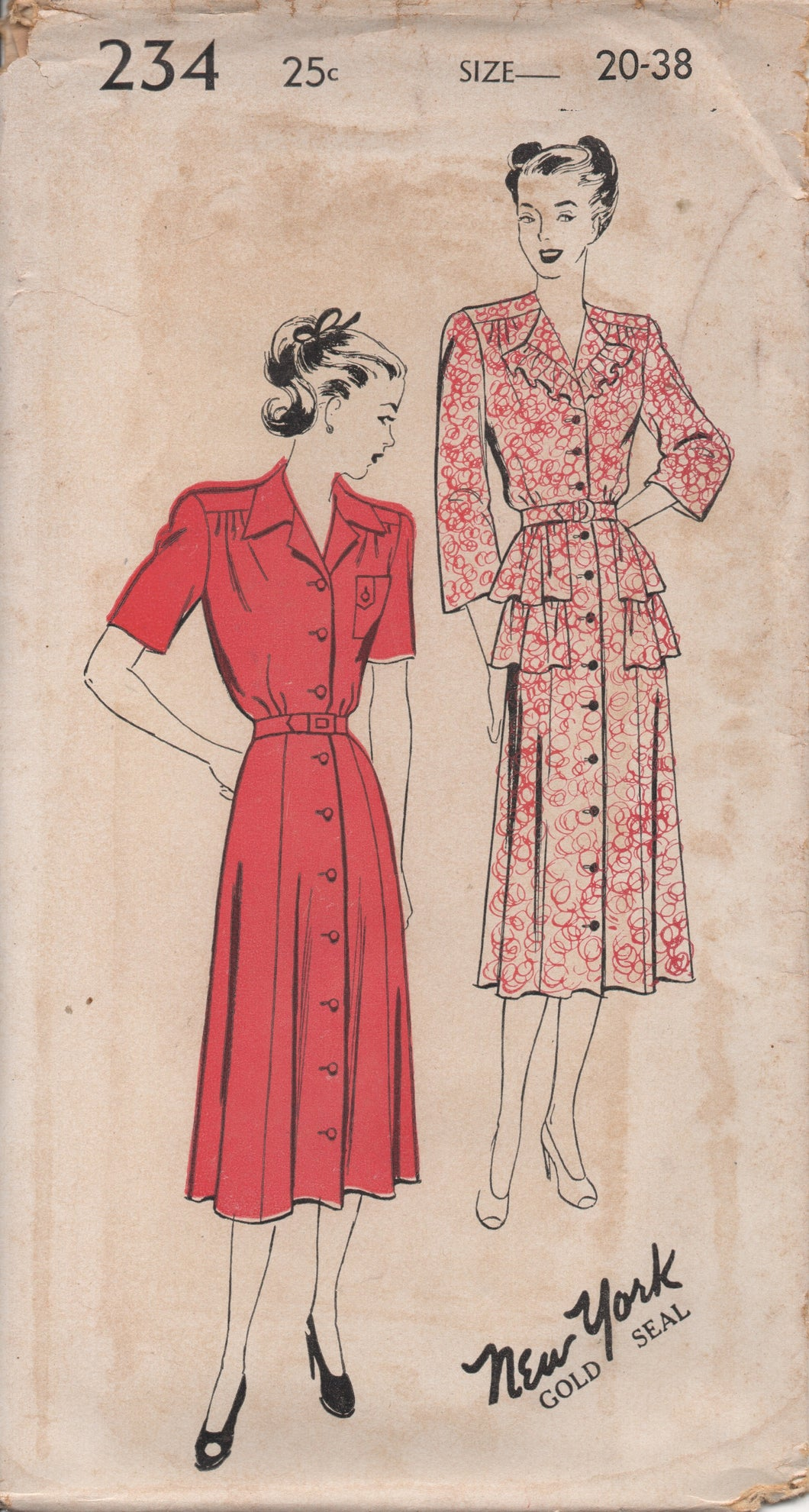 1940's New York One Piece Dress with Double Peplum and Two Sleeves lengths - Bust 38