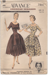 "1950's Advance American Designer One Piece Princess Line Dress ""After 5"" - Bust 36"" - No. 7801"