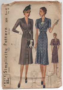 "1930's (1940?) Simplicity One Piece Dress with raised waist line and button detail - Bust 42"" - 3019"
