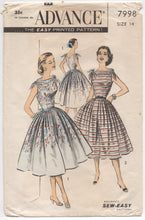 "1950's Advance One Piece Dress with Tie Shoulders and Pleated Skirt - Bust 32"" - No. 7998"