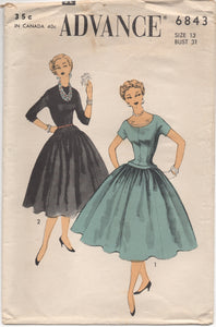 "1950's Advance Juniors One Piece Drop Waist Dress with Formed Bodice - Bust 31"" - No. 6843"