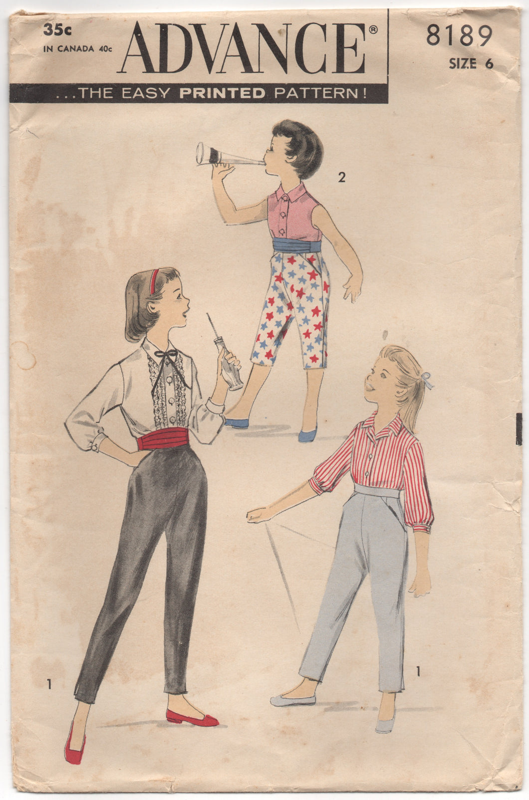1950's Advance Girl's Cigarette Pants, Cummerbund and Blouse - Breast 24