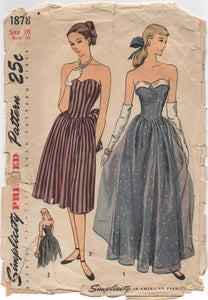"1940's Simplicity Evening Gown in Two Lengths with Sweetheart neckline - Bust 34"" - No. 1878"