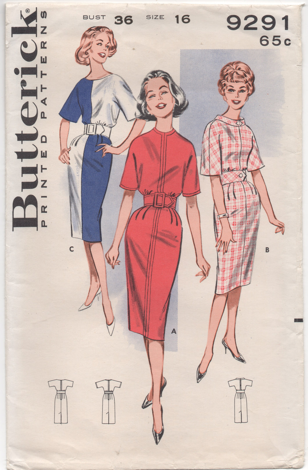 1960's Butterick One Piece Dress in Color Block Style - Bust 36