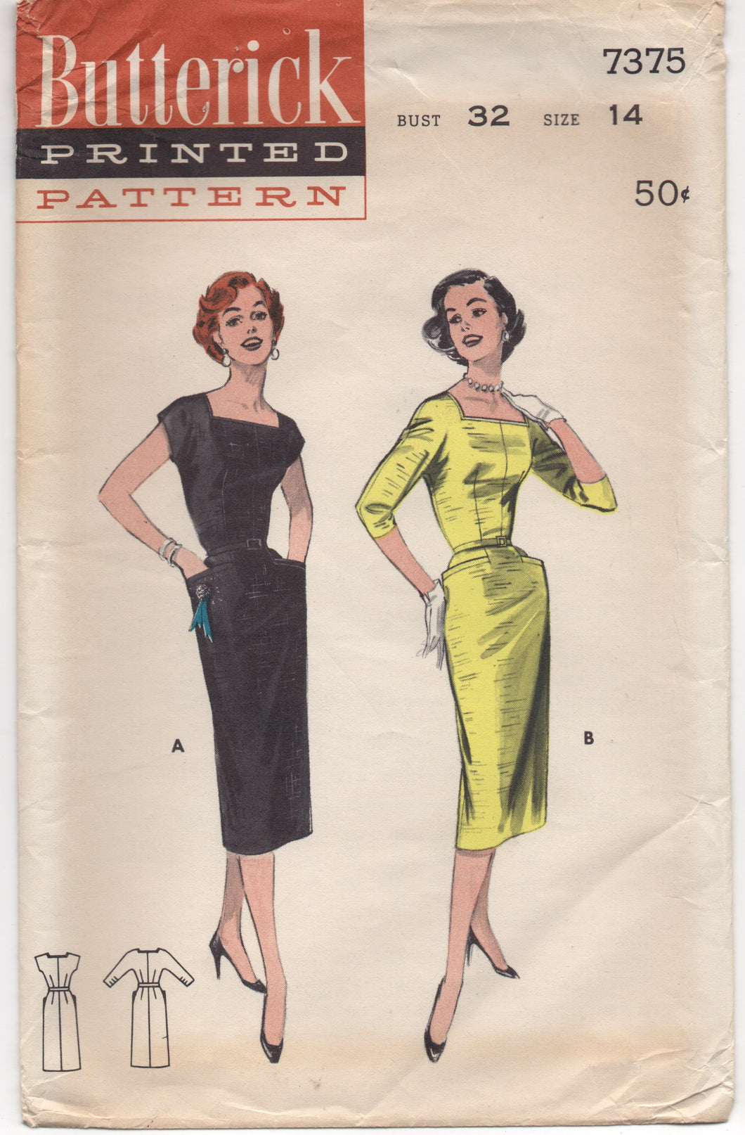 1950's Butterick One Piece Slim Fit Dress with Square Neckline - Bust 32