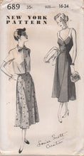 "1950's New York by Louise Scott Dress with Wrap Button Front and Contrast edges and Bolero - Bust 34"" - UC/FF - No. 689"