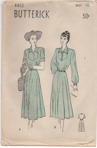 "1940's Butterick One Piece Tailored Dress with Bell Sleeves - Bust 38"" - UC/FF - No. 4452"