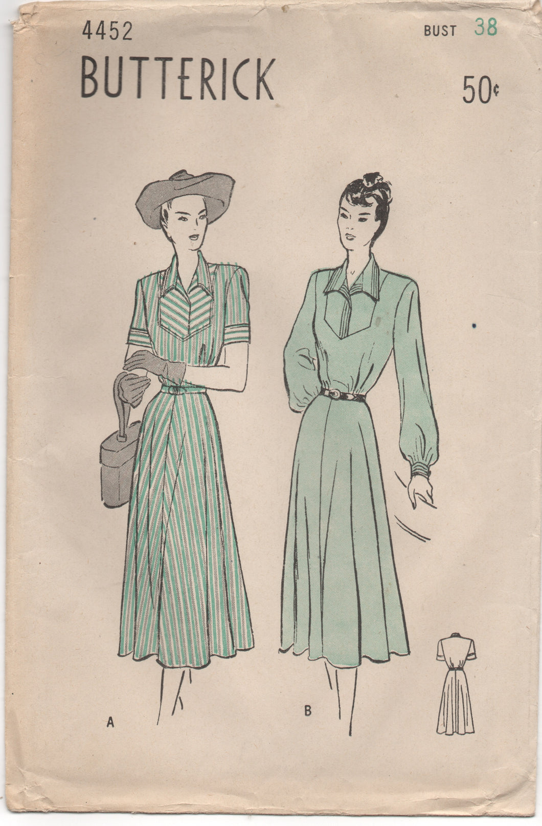 1940's Butterick One Piece Tailored Dress with Bell Sleeves - Bust 38