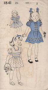 "1950's New York Girl's One Piece Dress with Peter Pan Collar or Round or Square Neckline - Breast 21"" - No. 1841"
