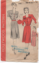"1940's Hollywood One Piece Dress with Yoke Detail - Bust 40"" - UC/FF - No. 1380"